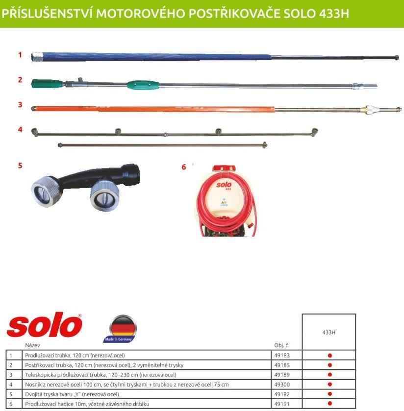 Příslušenství motorového postřikovače SOLO 433-H